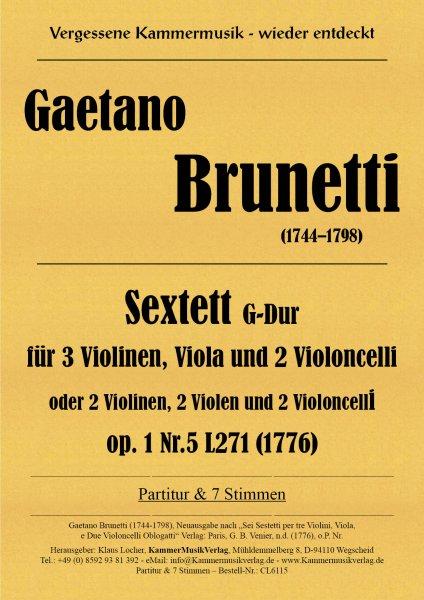 Brunetti, Gaetano – Sextett, G-Dur, op. 1-5
