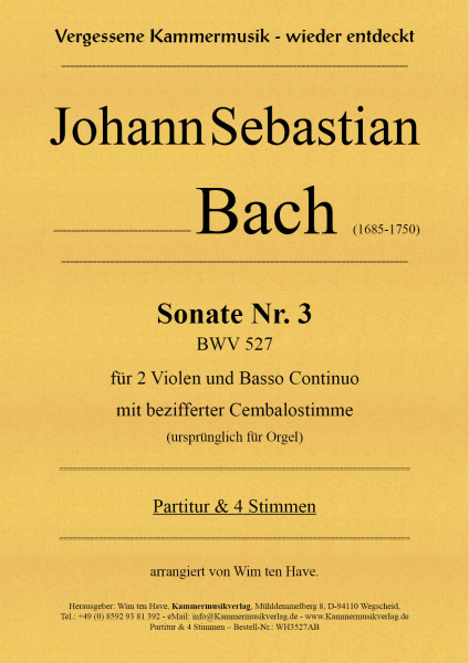 Bach, Johann Sebastian – Sonate Nr. 3 für 2 Va & BC mit bezifferter Cembalostimme
