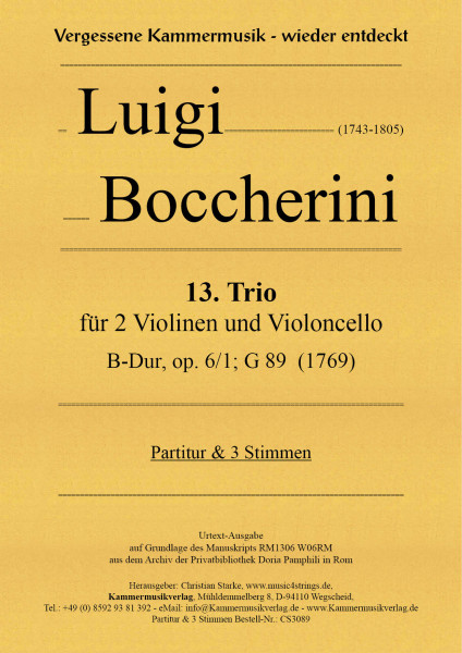 Boccherini, Luigi – 13. Trio für 2 Violinen und Violoncello