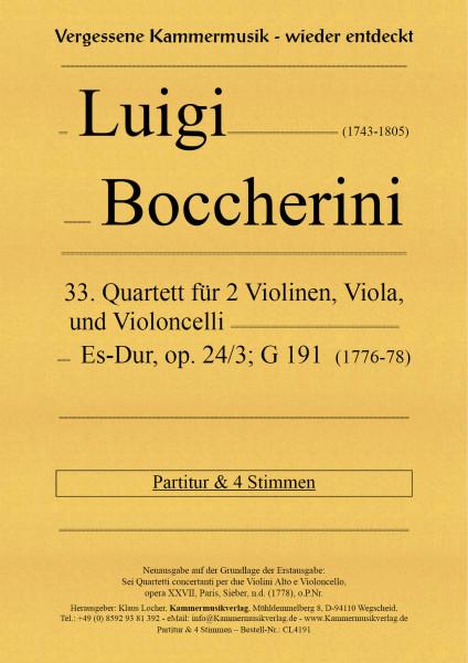 Boccherini, Luigi – 33. Quartett für 2 Violinen, Viola und Violoncello, Es-Dur, op. 24,3, G 191
