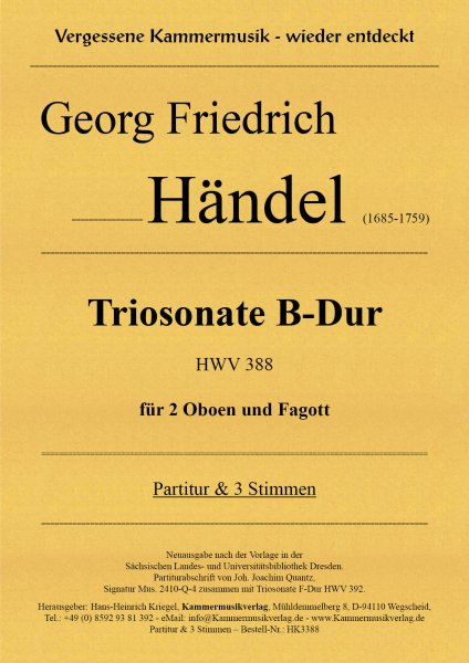 Händel, Georg Friedrich –Triosonate B-Dur