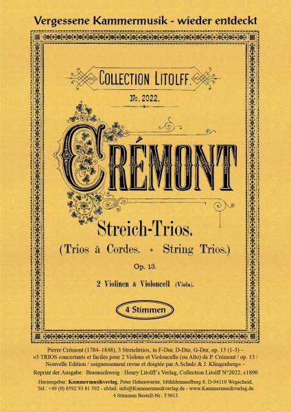 Crémont, Pierre – 3 Streichtrios