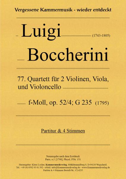 Boccherini, Luigi – 77. Quartett für 2 Violinen, Viola und Violoncello, f-Moll, op. 52-4, G 235