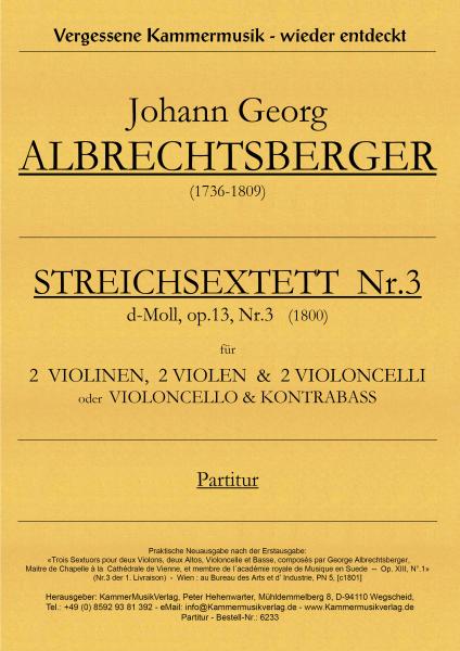 Albrechtsberger, Johann Georg – Streichsextett Nr. 3, d-Moll, op. 13-3