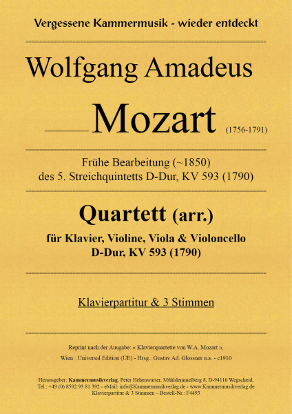 Mozart, Wolfgang Amadeus – Klavierquartett (arr.), D-Dur