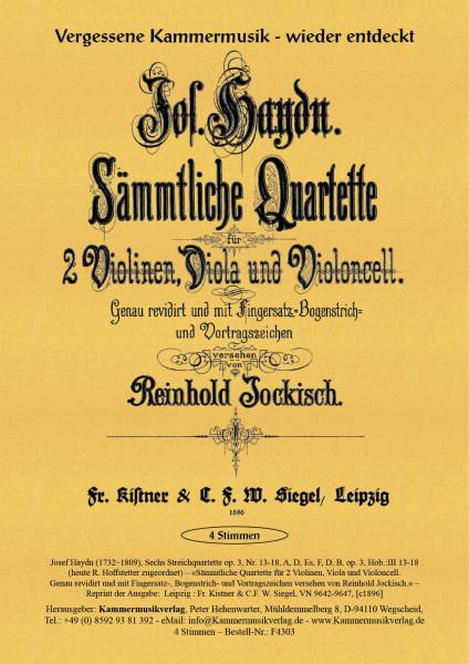 Haydn, Joseph – Sechs Streichquartette op. 3, Nr. 13-18, A, D, Es, F, D, B, op. 3, Hob.:III 13-18