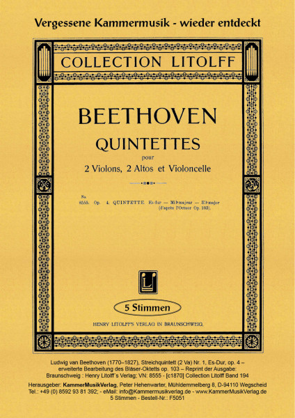 Beethoven, Ludwig van – Streichquintett (2 Va) Nr. 1, Es-Dur, op. 4