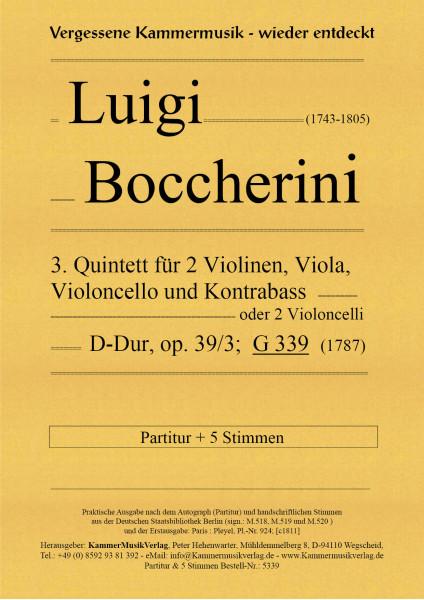 Boccherini, Luigi – 3. Quintett für 2 Violinen, Viola, Violoncello und Kontrabass