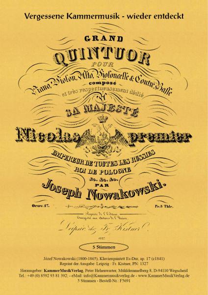 Nowakowski, Joseph – Klavierquintett (Forellen-Besetzung), Es-Dur, op. 17