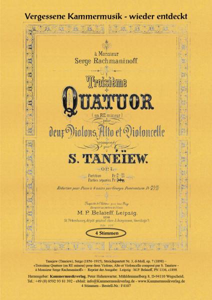 Tanejew (Taneiew), Serge – Streichquartett Nr. 3, d-Moll, op. 7