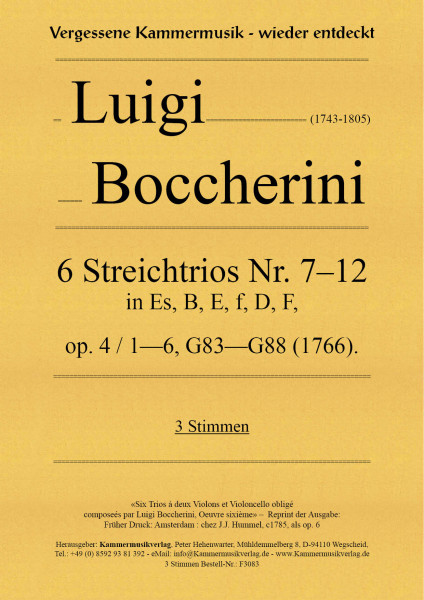 Boccherini, Luigi – 6 Streichtrios Nr. 7–12, op. 4, Nr.1—6, G 83—G 88