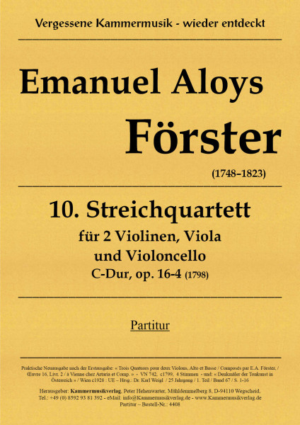 Förster, Emanuel Aloys – Streichquartett Nr. 10, C-Dur, op. 16-4