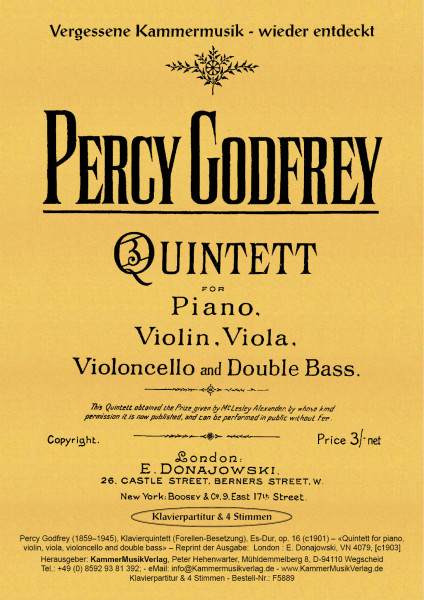 Godfrey, Percy – Klavierquintett (Forellen-Besetzung), Es-Dur, op. 16