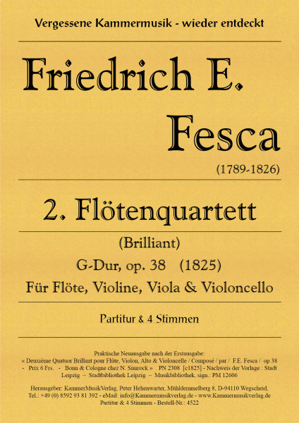 Fesca, Friedrich Ernst – Flötenquartett Nr. 2, G-Dur, op. 38