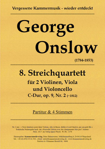 Onslow, George – Streichquartett Nr. 8