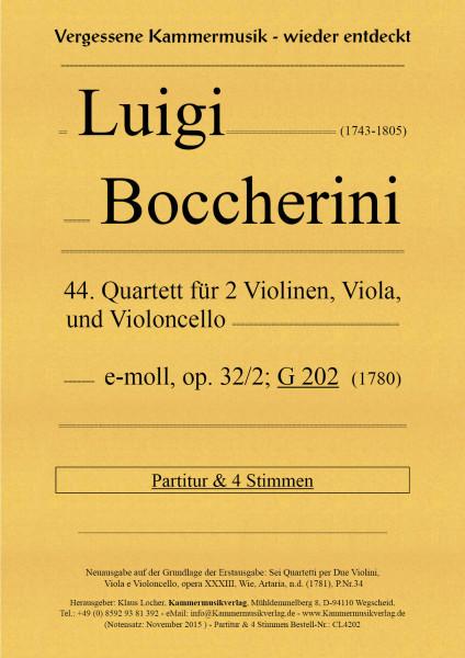 Boccherini, Luigi – 44. Quartett für 2 Violinen, Viola und Violoncello, e-Moll, op. 32-2, G 202