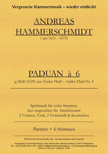 Hammerschmidt, Andreas – Streichsextett m.Kb – PADUAN à 6, g-Moll