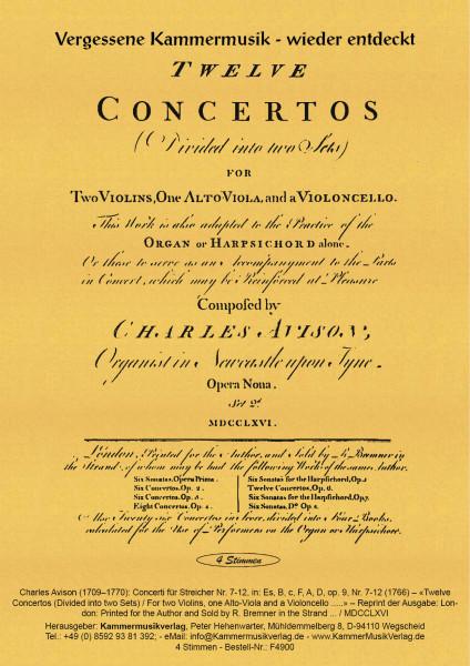 Avison, Charles – Concerti für Streicher Nr. 7-12, in: Es, B, c, F, A, D,, op. 9