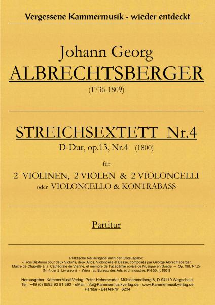 Albrechtsberger, Johann Georg – Streichsextett Nr. 4, D-Dur, op. 13-4