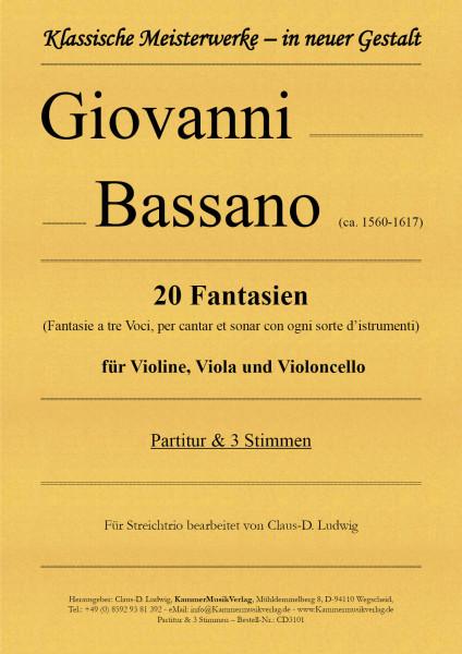 Bassano Giovanni – 20 Fantasien für Streichtrio