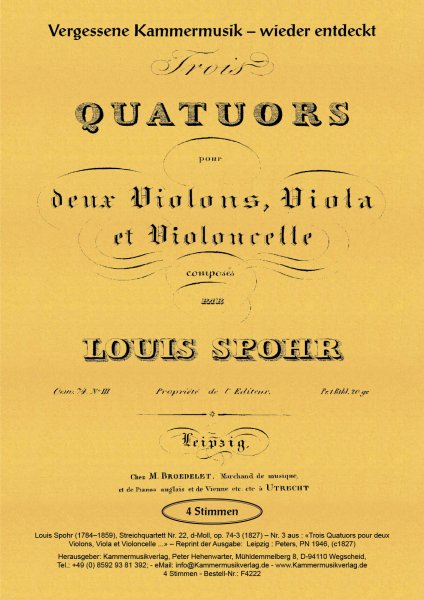 Spohr, Louis – Streichquartett Nr. 22, d-Moll, op. 74-3