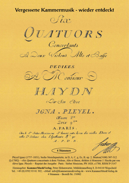 Pleyel, Ignaz – Sechs Streichquartette, in D, A, C, g, Es, B, op. 2
