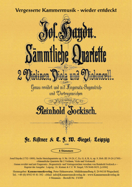 Haydn, Joseph – Sechs Streichquartette, Nr. 19-24, C, Es, G, d, B, A, op. 9, Hob.:III 19-24