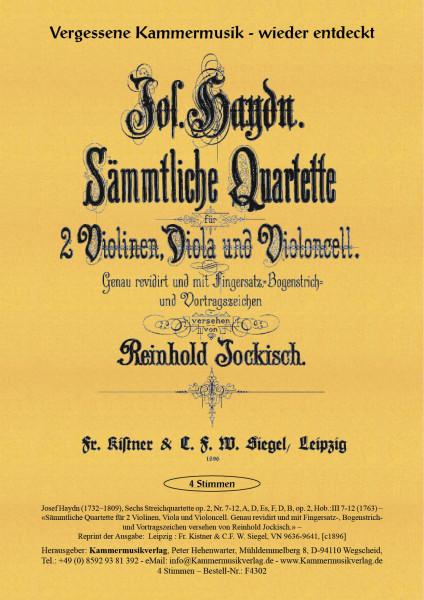 Haydn, Joseph – Sechs Streichquartette, Nr. 7-12, A, D, Es, F, D, B, op. 2, Hob.:III 7-12