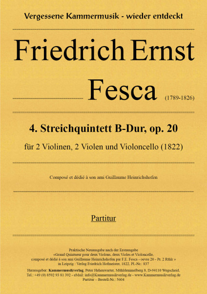 Fesca, Friedrich Ernst – Streichquintett Nr. 4, B-Dur, op. 20