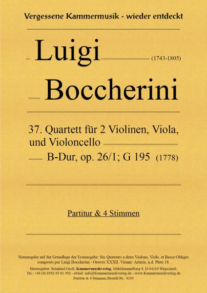 Boccherini, Luigi – 37. Quartett für 2 Violinen, Viola und Violoncello, B-Dur, op. 26-1, G 195