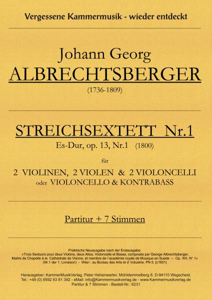 Albrechtsberger, Johann Georg – Streichsextett Nr. 1, Es-Dur, op. 13-1