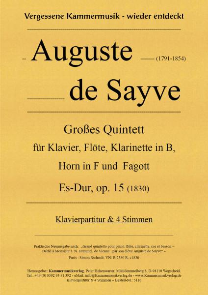 Sayve, Auguste de – Großes Quintett für Klavier und Bläser
