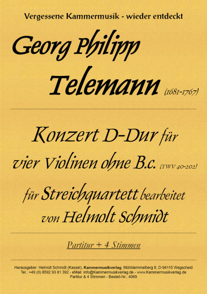 Telemann, Georg Philipp – Streichquartett, D-Dur