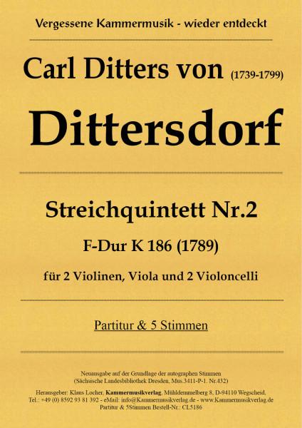 Dittersdorf, Carl Ditters von – Streichquintett Nr. 2, F-Dur K 186