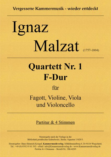 Malzat Ignaz – Quartett Nr. 1 F-Dur