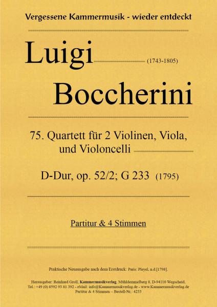 Boccherini, Luigi – 75. Quartett für 2 Violinen, Viola und Violoncello, D-Dur, op. 52-2, G 233
