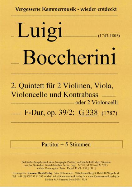 Boccherini, Luigi – 2. Quintett für 2 Violinen, Viola, Violoncello und Kb, F-Dur, op. 39-2, G 338