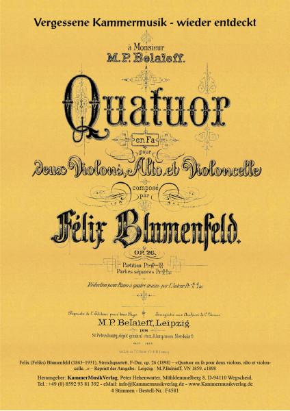 Blumenfeld, Felix (Feliks) – Streichquartett