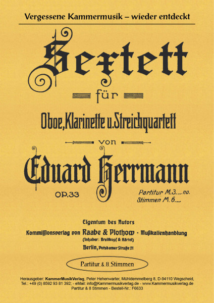 Herrmann, Eduard – Oboe, Klarinette und Streichquartett, g-Moll, op. 33