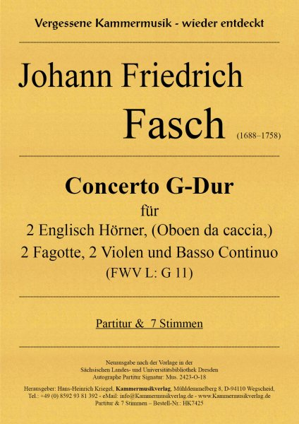 Fasch, Johann Friedrich – Concerto G-Dur (FWV L: G 11)