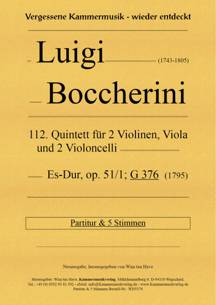 Boccherini, Luigi – 112. Quintett für 2 Violinen, Viola und 2 Violoncelli
