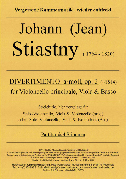 Stiastny, Johann (Jean) – DIVERTIMENTO, a-moll, op. 3