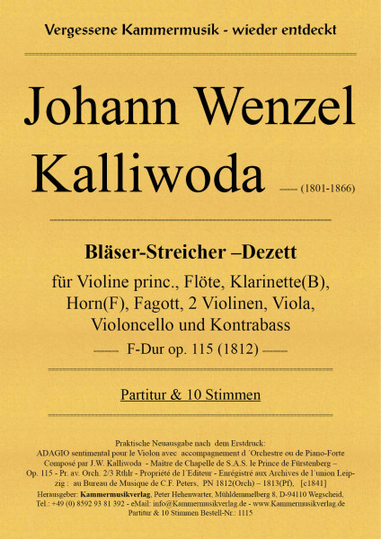 Kalliwoda, Johann Wenzel – Bläser-Streicher-Dezett (Violin-Dezett), F-Dur, op. 115