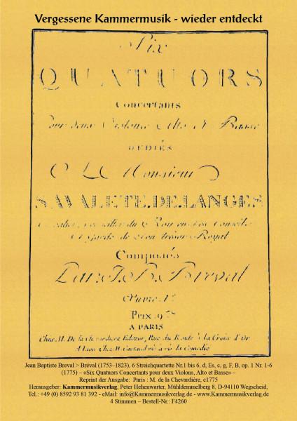 Breval > Jean Baptiste > Bréval – 6 Streichquartette Nr.1 bis 6
