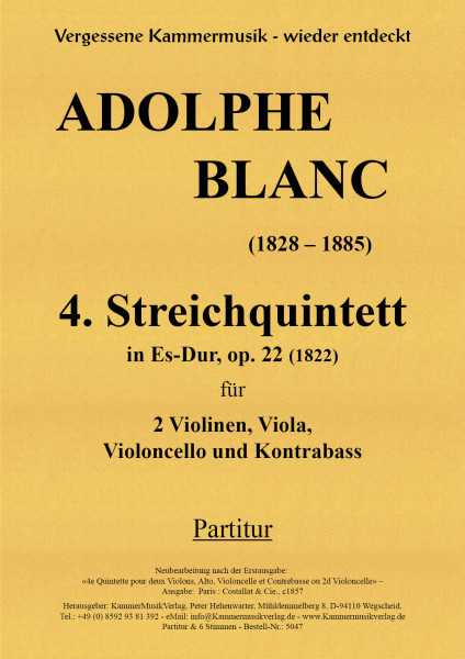 Blanc, Adolphe – Streichquintett m.Kb Nr. 4