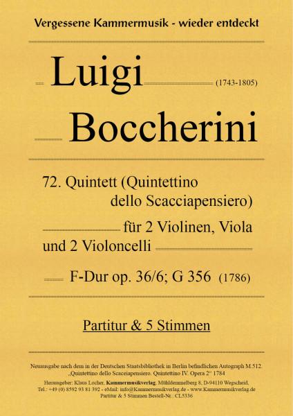 Boccherini, Luigi – 72. Quintett für 2 Violinen, Viola und 2 Violoncelli, F-Dur, op. 36/6, G 356