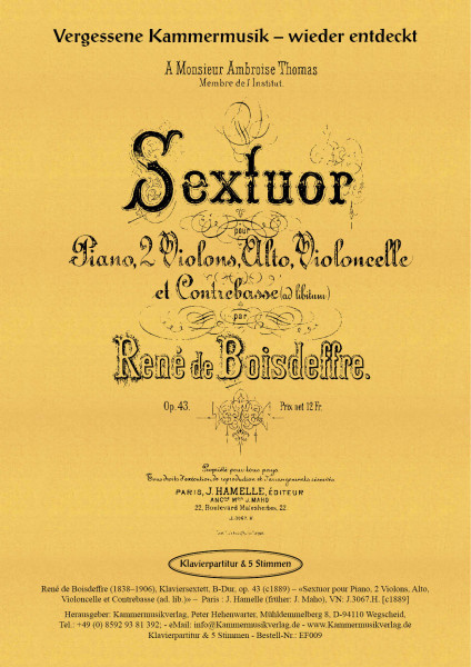 Boisdeffre, René de – Klaviersextett, B-Dur, op. 43