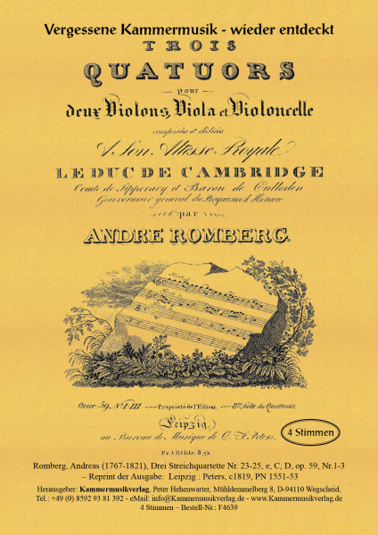Romberg, Andreas – Drei Streichquartette Nr. 23-25, e, C, D, op. 59, Nr.1-3