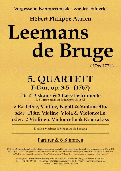 Leemans de Bruge, Hébert Ph. A. – Streichquartett Nr. 5