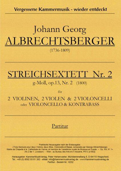 Albrechtsberger, Johann Georg – Streichsextett Nr. 2, g-Moll, op. 13-2